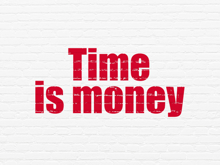 Time concept: Painted red text Time Is money on White Brick wall background Stock Photo