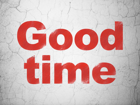 Timeline concept: Red Good Time on textured concrete wall background