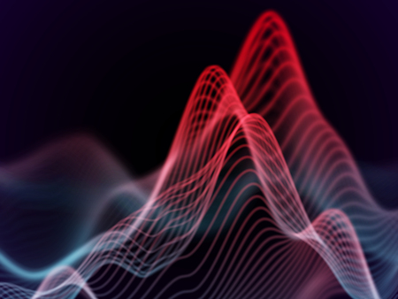 Big data abstract visualization: business charts analytics. 3D Sound waves. Digital surface with flowing curves. Futuristic technology background. red sound waves, EPS 10 vector illustration.