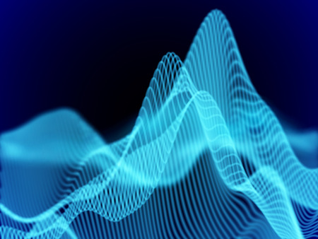 Big data abstract visualization: business charts analytics. 3D Sound waves. Digital surface with flowing curves. Futuristic technology background.Blue sound waves, EPS 10 vector illustration.
