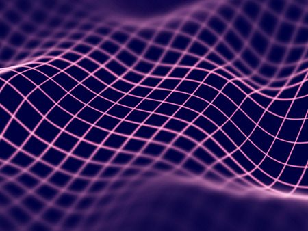 Concept de réalité virtuelle: grille de paysage numérique abstraite dans le cyberespace. Paysage de montagne filaire 3D. Contexte pour la science-fiction et le cyberespace. Visualisation du big data. Illustration vectorielle EPS 10.