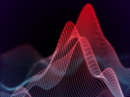 3D Sound waves. Big data abstract visualization: business charts analytics. Digital surface with flowing curves. Futuristic technology background. Red sound waves, EPS 10 vector illustration. Ilustração