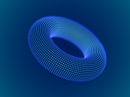 Cyber space concept: 3d digital torus consisting of glowing particles. Cyber security, big data, data storage visual concept. EPS 10, vector illustration. Vector Illustration
