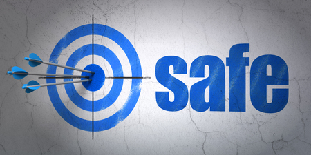 Success protection concept: arrows hitting the center of target, Blue Safe on wall background, 3D rendering