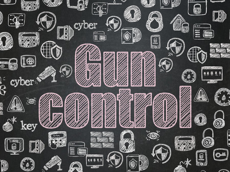 Safety concept: Chalk Pink text Gun Control on School board background with  Hand Drawn Security Icons, School Board Banco de Imagens