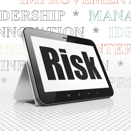 Finance concept: Tablet Computer with  black text Risk on display,  Tag Cloud background, 3D rendering