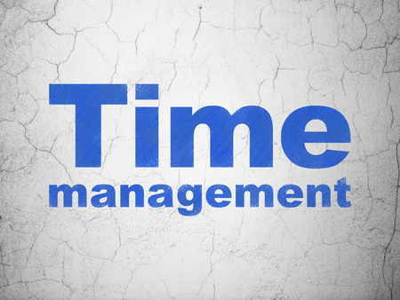 Timeline concept: Blue Time Management on textured concrete wall background
