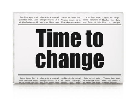 Time concept: newspaper headline Time to Change on White background, 3D rendering Stock Photo