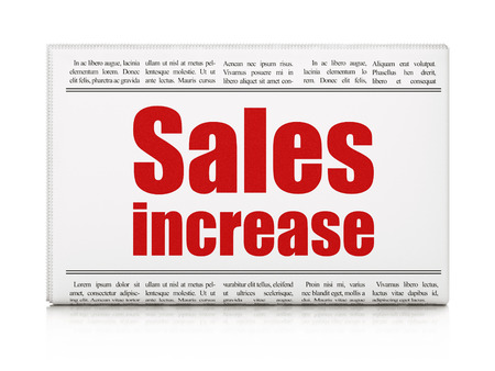 Advertising concept: newspaper headline Sales Increase on White background, 3D rendering Banco de Imagens