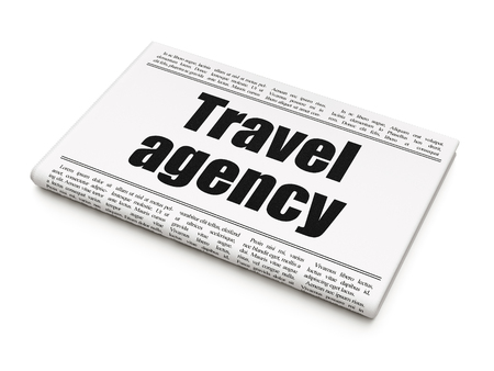 Vacation concept: newspaper headline Travel Agency on White background, 3D rendering