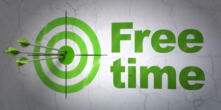 Success timeline concept: arrows hitting the center of target, Green Free Time on wall background, 3D rendering