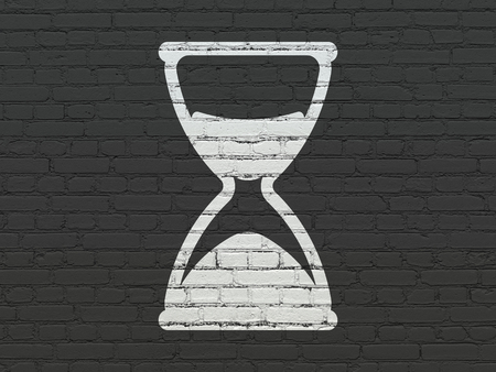 Time concept: Painted white Hourglass icon on Black Brick wall background