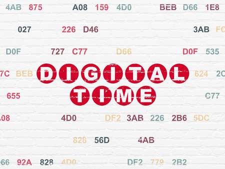 Timeline concept: Painted red text Digital Time on White Brick wall background with Hexadecimal Code Reklamní fotografie