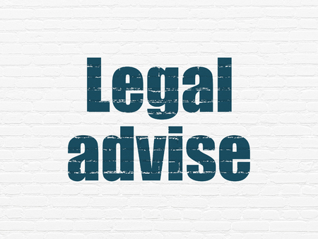 Law concept: Painted blue text Legal Advise on White Brick wall background