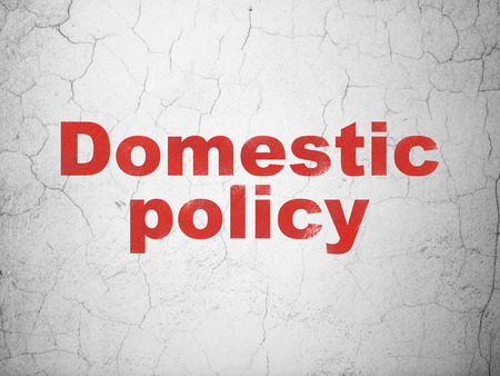 Political concept: Red Domestic Policy on textured concrete wall background Stock Photo