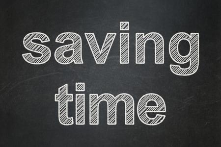 Timeline concept: text Saving Time on Black chalkboard background Stock Photo