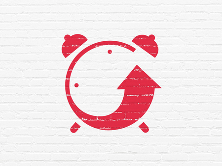Time concept: Painted red Alarm Clock icon on White Brick wall background