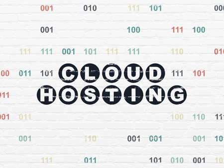 Cloud technology concept: Painted black text Cloud Hosting on White Brick wall background with Binary Code 免版税图像