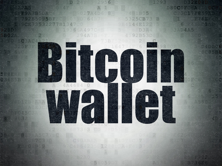 Cryptocurrency concept: Painted black word Bitcoin Wallet on Digital Data Paper background