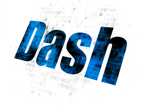 Cryptocurrency concept: Pixelated blue text Dash on Digital background