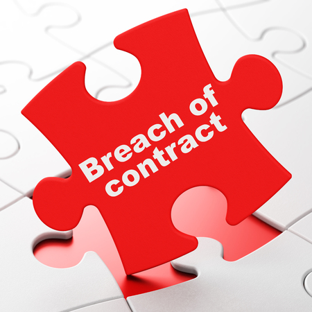 Law concept: Breach Of Contract on Red puzzle pieces background, 3D rendering Stock Photo