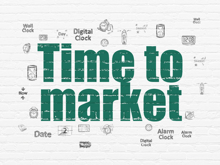 Time concept: Painted green text Time to Market on White Brick wall background with  Hand Drawing Time Icons