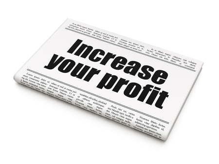 Finance concept: newspaper headline Increase Your profit on White background, 3D rendering
