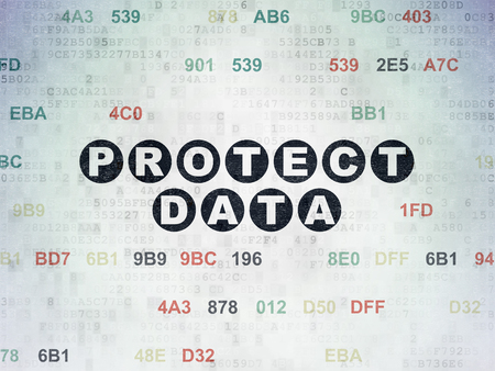 Protection concept: Painted black text Protect Data on Digital Data Paper background with Hexadecimal Code