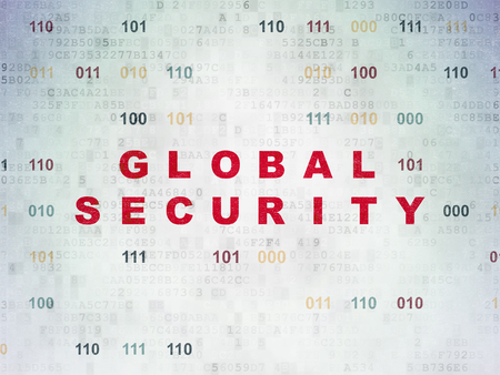 Protection concept: Painted red text Global Security on Digital Data Paper background with Binary Code Foto de archivo