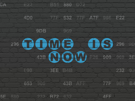 Time concept: Painted blue text Time is Now on Black Brick wall background with Hexadecimal Code