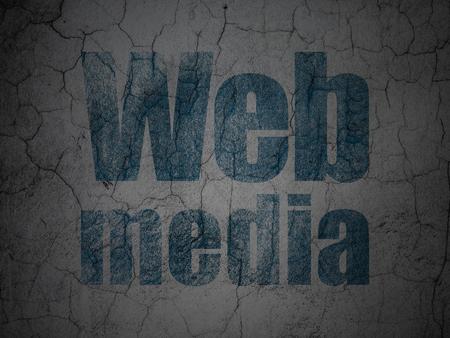 Web development concept: Blue Web Media on grunge textured concrete wall background