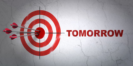 Success timeline concept: arrows hitting the center of target, Red Tomorrow on wall background, 3D rendering Stock Photo
