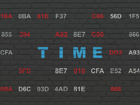 Timeline concept: Painted blue text Time on Black Brick wall background with Hexadecimal Code