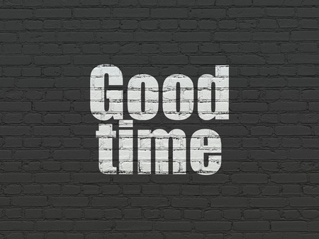 Timeline concept: Painted white text Good Time on Black Brick wall background