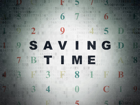 Time concept: Painted black text Saving Time on Digital Data Paper background with Hexadecimal Code