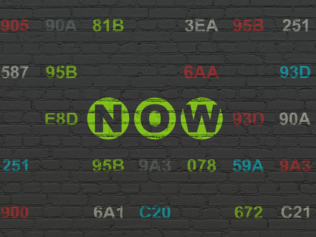 Time concept: Painted green text Now on Black Brick wall background with Hexadecimal Code