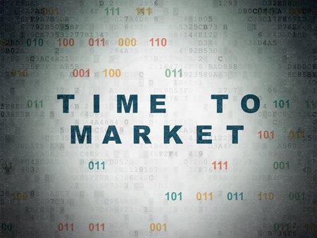 Time concept: Painted blue text Time to Market on Digital Data Paper background with Binary Code Stock Photo