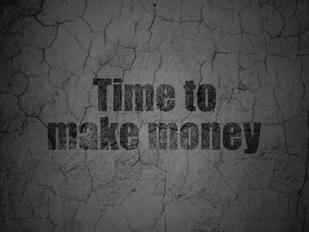 Timeline concept: Black Time to Make money on grunge textured concrete wall background