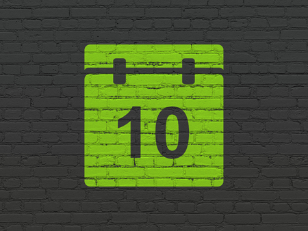 Timeline concept: Painted green Calendar icon on Black Brick wall background Stock Photo