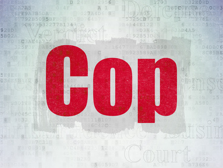 Law concept: Painted red text Cop on Digital Data Paper background with   Tag Cloud