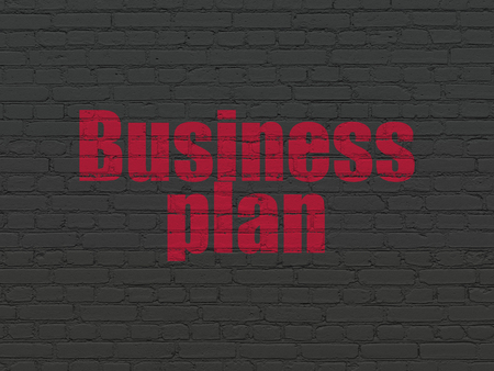 Finance concept: Painted red text Business Plan on Black Brick wall background