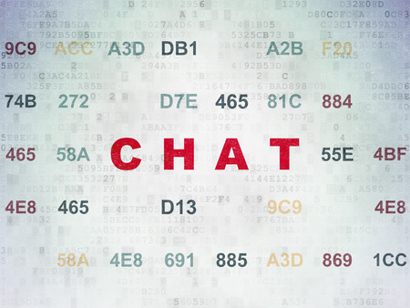 Web design concept: Painted red text Chat on Digital Data Paper background with Hexadecimal Code