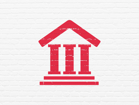 Law concept: Painted red Courthouse icon on White Brick wall background Stockfoto