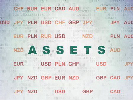 Money concept: Painted green text Assets on Digital Data Paper background with Currency