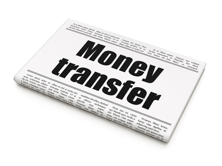 Currency concept: newspaper headline Money Transfer on White background, 3D rendering