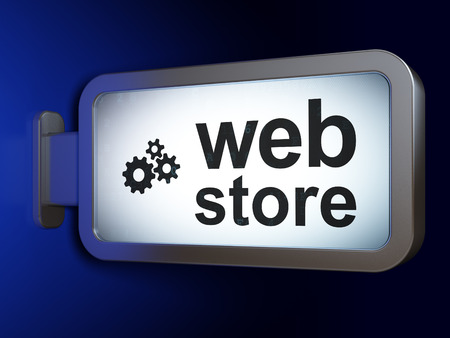 Web design concept: Web Store and Gears on advertising billboard background, 3D rendering