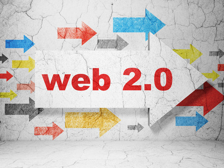 Web development concept:  arrow with Web 2.0 on grunge textured concrete wall background, 3D rendering