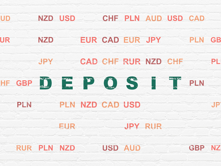 Currency concept: Painted green text Deposit on White Brick wall background with Currency Stockfoto