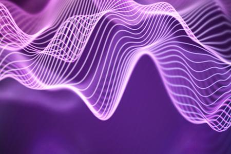 3D Sound waves. Big data abstract visualization. Digital technology concept: virtual landscape. Futuristic background. Pink sound waves, visual audio waves equalizer, EPS 10 vector illustration. Imagens - 127666815