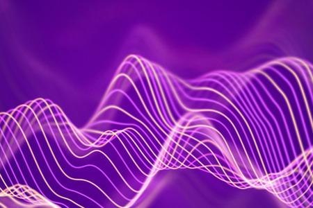 3D Sound waves. Big data abstract visualization. Digital technology concept: virtual landscape. Futuristic background. Pink sound waves, visual audio waves equalizer, EPS 10 vector illustration. Imagens - 127666816